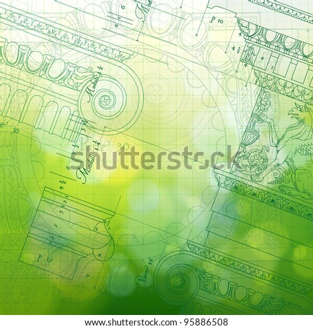 Blueprint - hand draw sketch ionic architectural order & green bokeh background - stock vector