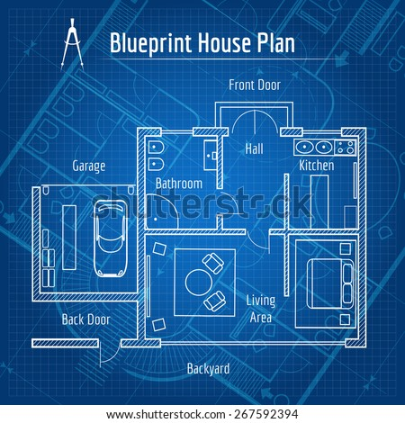 Blueprint house plan. Design architecture home, drawing structure and plan. Vector illustration - stock vector
