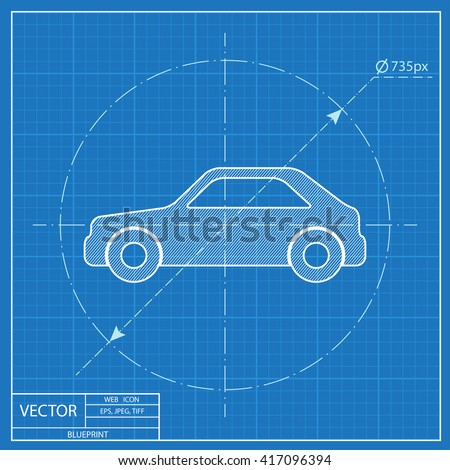 Drawing car on blue background top vectores en stock 573328648 blueprint icon of car malvernweather Image collections