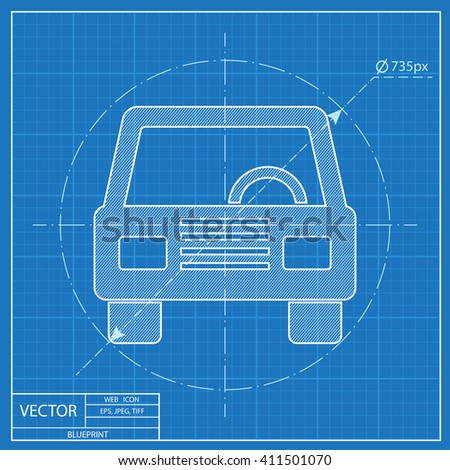 Blueprint icon car front stock vector 411501070 shutterstock blueprint icon of car front malvernweather Image collections