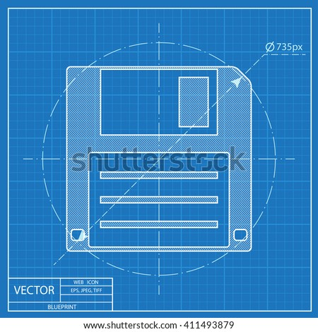 Blueprint Icon Hd Diskette Stock Vector HD (Royalty Free) 411493879 ...
