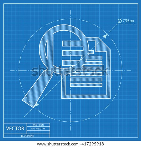 Blueprint icon documents stock vector 417126376 shutterstock blueprint icon of lupe document malvernweather Choice Image