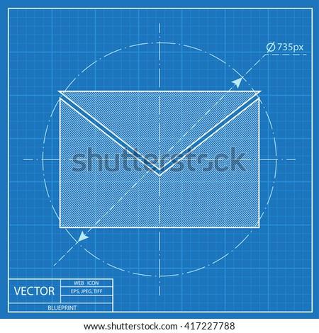 Detailed illustration dmaic define measure analyze vectores en stock blueprint icon of mail malvernweather Gallery