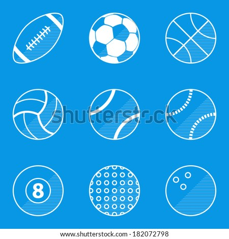 Blueprint icon set. Sport ball  - stock vector