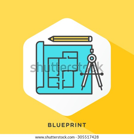 Blueprint icon with dark grey outline and offset flat colors. Modern style minimalistic vector illustration for construction, engineering and real estate development themes. - stock vector