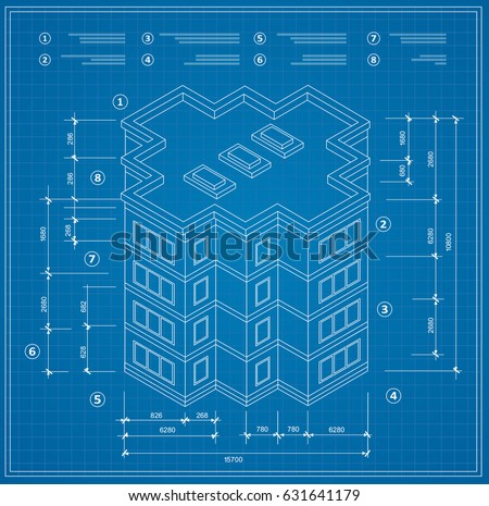 Blueprint isometric plan residential building drawing vector de blueprint isometric plan of a residential building drawing of the jotting sketch of the construction malvernweather Images