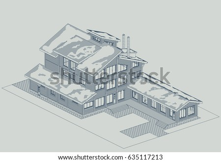 Blueprint wooden house glued profiled beam stock vector 635117213 blueprint of a wooden house from glued profiled beam with the snow on the roof and malvernweather Gallery