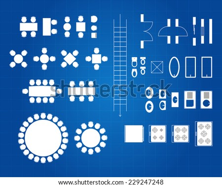 Blueprint Of Architectural Plan Icon Set - stock vector
