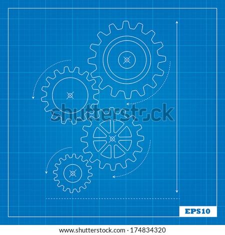 Blueprint of Cogs - stock vector