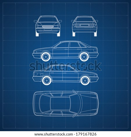 Blueprint commercial vehicle car 5 views stock vector 179167826 blueprint of commercial vehicle car 5 views malvernweather Image collections