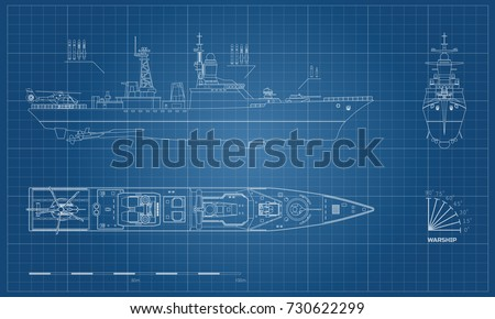Blueprint military ship top front side stock vector 730622299 blueprint of military ship top front and side view battleship model industrial malvernweather Choice Image