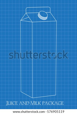 Blueprint milk juice carton package stock vector 576905119 blueprint of milk and juice carton package malvernweather Image collections