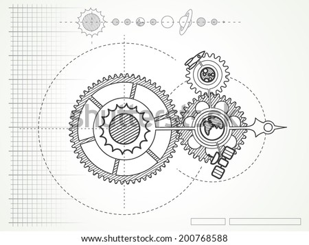 blueprint of space mechanic - with planets and gearwheels - stock vector