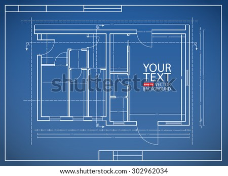 blueprint paper more plan project architectural in vector format - stock vector
