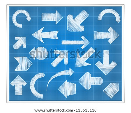 Blueprint paper with hand drawn arrows, vector eps10 illustration - stock vector