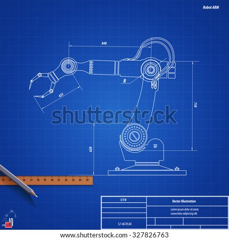Blueprint robot arm vector illustration eps 10 vector de blueprint robot armctor illustration eps 10 malvernweather Image collections