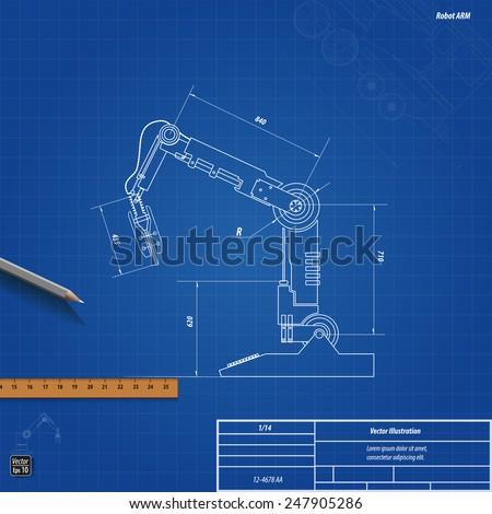 Blueprint robotic arm vector illustration eps stock vector 2018 blueprint robotic arm vector illustration eps 10 malvernweather Gallery