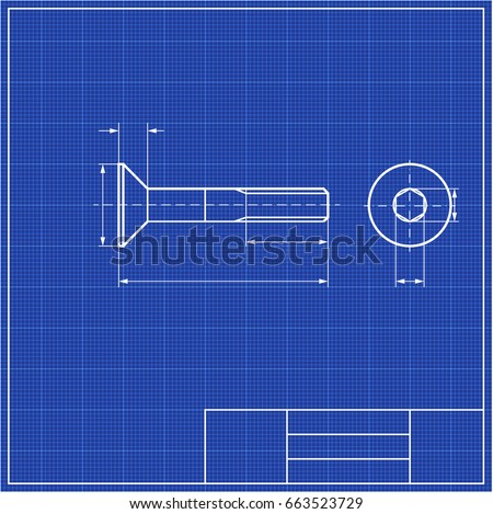 Blueprint screw profile hidden hex framework stock vector 663523729 blueprint screw profile with hidden hex and framework scale blueprints mechanical engineering drawings of malvernweather Images