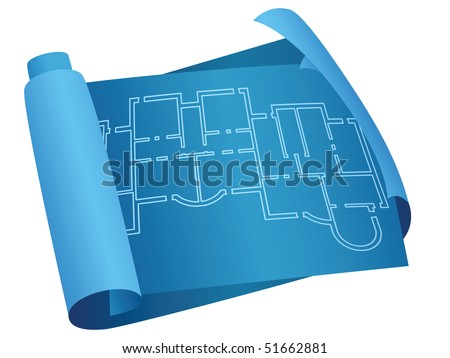 Blueprint scroll. Plan of the house - stock vector