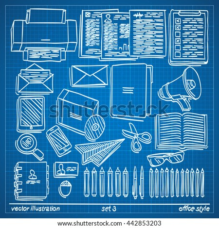 Blueprint sketch office style drawing office stock vector blueprint sketch office style drawing office icon set on blueprint background draft icon collection malvernweather Images