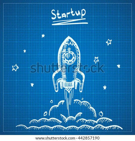 Blueprint sketch rocket startup rocket launch stock vector 442857190 blueprint sketch rocket startup rocket launch draft new project start up concept in sketch malvernweather Image collections