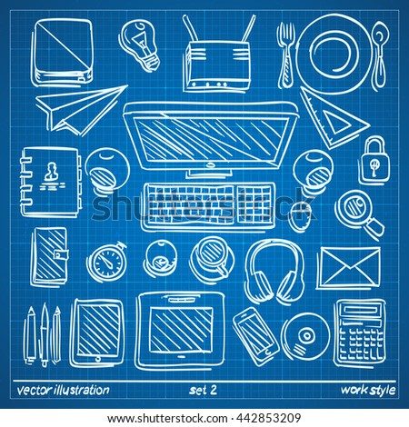 Blueprint sketch work style drawing work vector de stock442853209 blueprint sketch work style drawing work icon set on blueprint background draft icon collection malvernweather Images