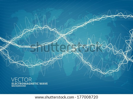 Blueprint style world map vector background vectores en stock blueprint style world map vector background with abstract waves malvernweather Choice Image
