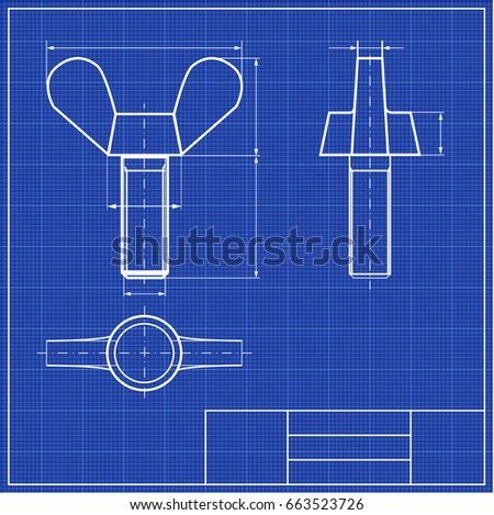 Blueprint thumbscrew profile framework scale blueprints stock vector blueprint thumbscrew profile with framework scale blueprints mechanical engineering drawings of gear cover malvernweather Image collections