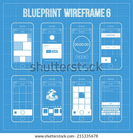 Mobile application interface concept vector illustration vectores en blueprint wireframe mobile app ui kit 6 gallery screen voice memos screen stopwatch malvernweather