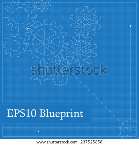 Blueprint with Drawn Gears - stock vector