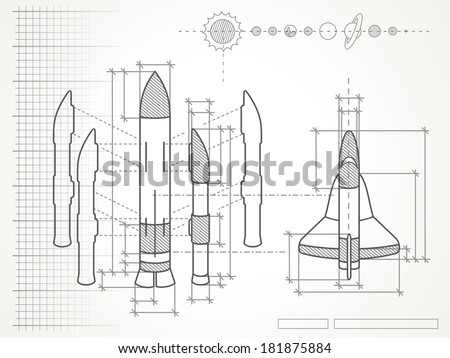 blueprint with spaceship scheme and planets - stock vector