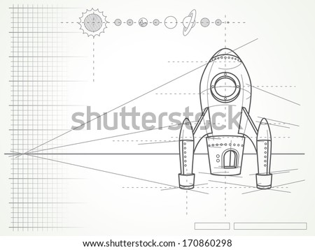 blueprint with spaceship scheme and planets - vector illustration - stock vector