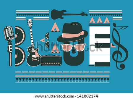 blues music artwork for poster - stock vector