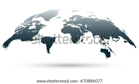 Bluish Detailed Globe Map Isolated on White Background. 3D Vector Illustration