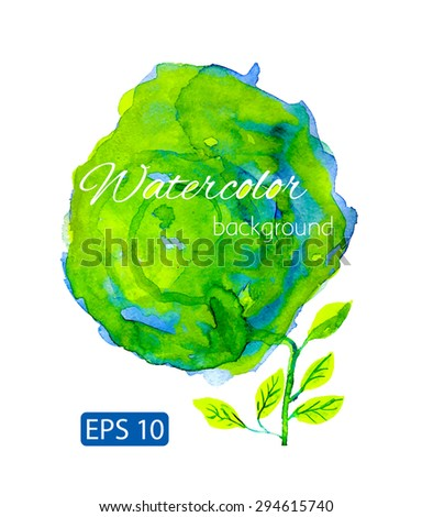 Blur and green watercolor backdrop with leafs - stock vector