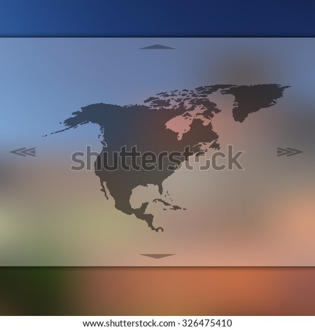 Blur background with silhouette of North America. Blur North America. North America. North America map. North America map. Blur. Blur background. Silhouette of North America. Blue North America. - stock vector