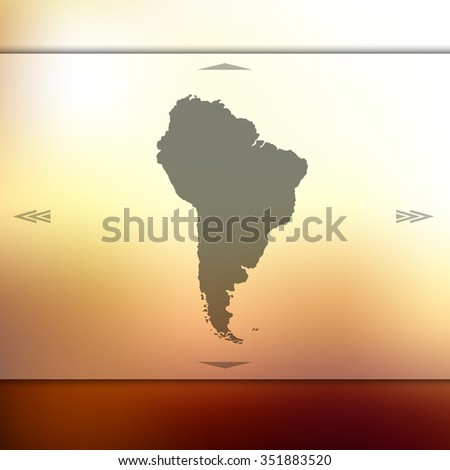 Blur background with silhouette of South America. Blur South America. South America. South America map. Blur South America map. Blur. Blur background. Silhouette of South America. Green South America. - stock vector
