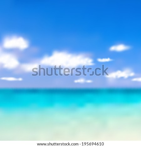 blur blue sky and the beach background (vector)