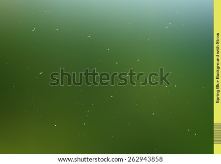 Blur Spring Colors Background with tiny spots and Stars placed in random order all over the Illustration. - stock vector