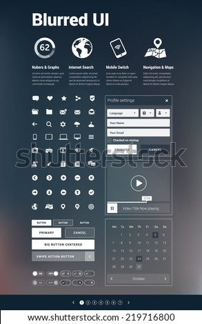 Blurred background UI - website / app design elements collection in white on blurred background - stock vector