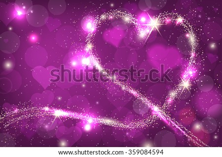 Blurred bokeh purple background with sparkle heart and place for your message. Vector illustration. - stock vector