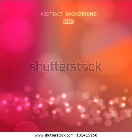 Blurred bright red, pink background with bokeh effect. Vector EPS 10 illustration. - stock vector