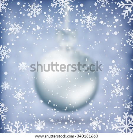 Blurred Christmas Ball. Xmas Decorations. Holiday Design for New Year Greeting Cards, Posters and Flyers. Vector.  - stock vector