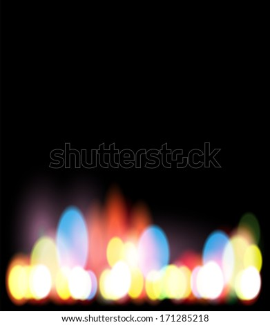 Blurred Defocused Lights on Rainy City Road at Night - stock vector