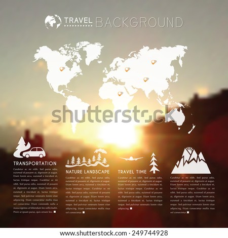 Blurred natural landscape with world map and travel icons. web and mobile interface background. Blurred mountains at sunset. Vector illustration - stock vector
