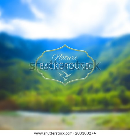 Blurred nature unfocused background. Mountains, forest and lake. Vector illustration. - stock vector
