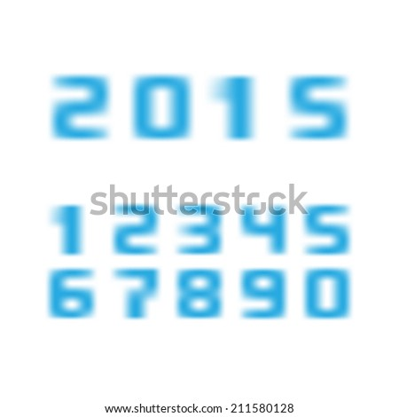 blurred numbers with 2015 new year