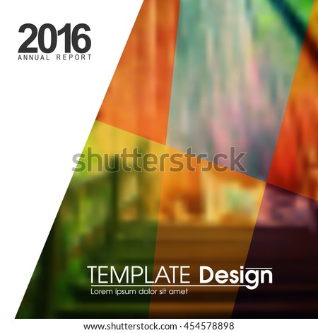 blurred photo realistic nature background, flat multicolored transparent frames design marketing modern background illustration. eps10 vector - stock vector