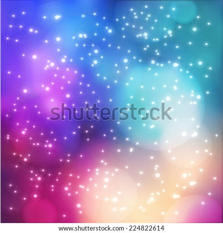 blurred space background with sparkles - stock vector