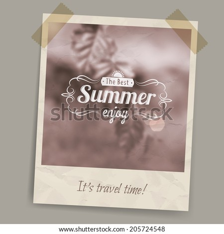 Blurred summer background in brown tones and sepia on a postcard or photo stuck on transparent tape  - stock vector